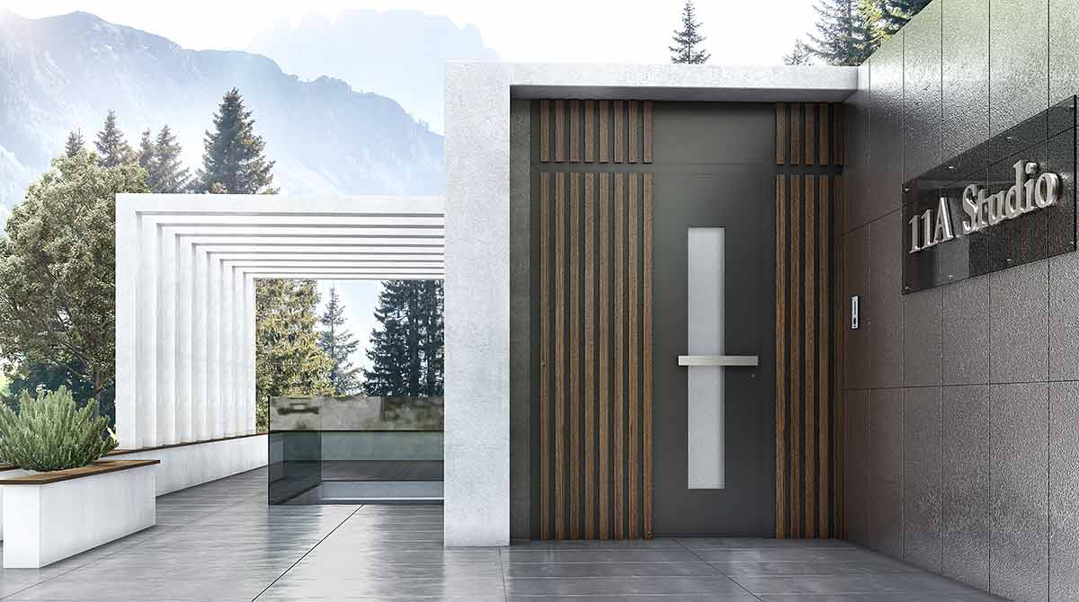 דלתות PIVOT מעוצבות בשילוב עץ