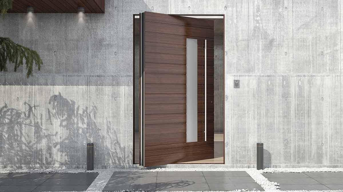 דלתות פיבוט מעוצבות מעץ מלא