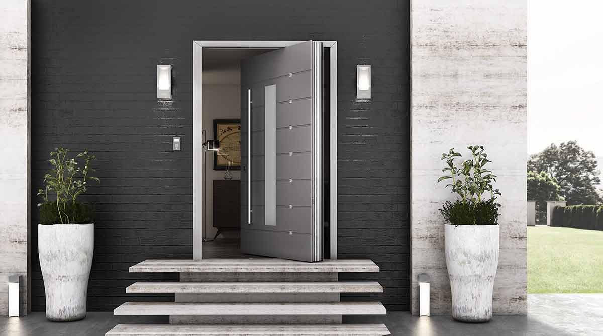 דלתות פיבוט גווני אפור