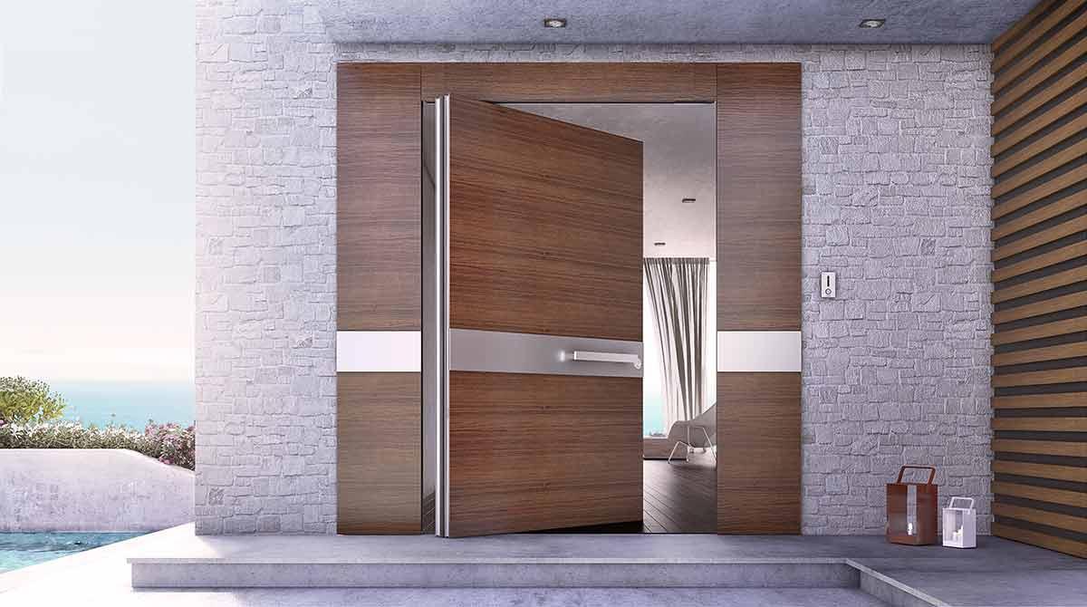 דלתות PIVOT עץ עם פרזולים