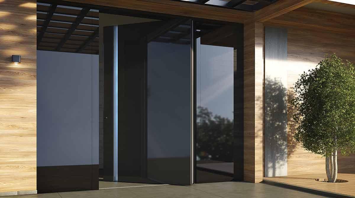 דלתות PIVOT זכוכית שחורה