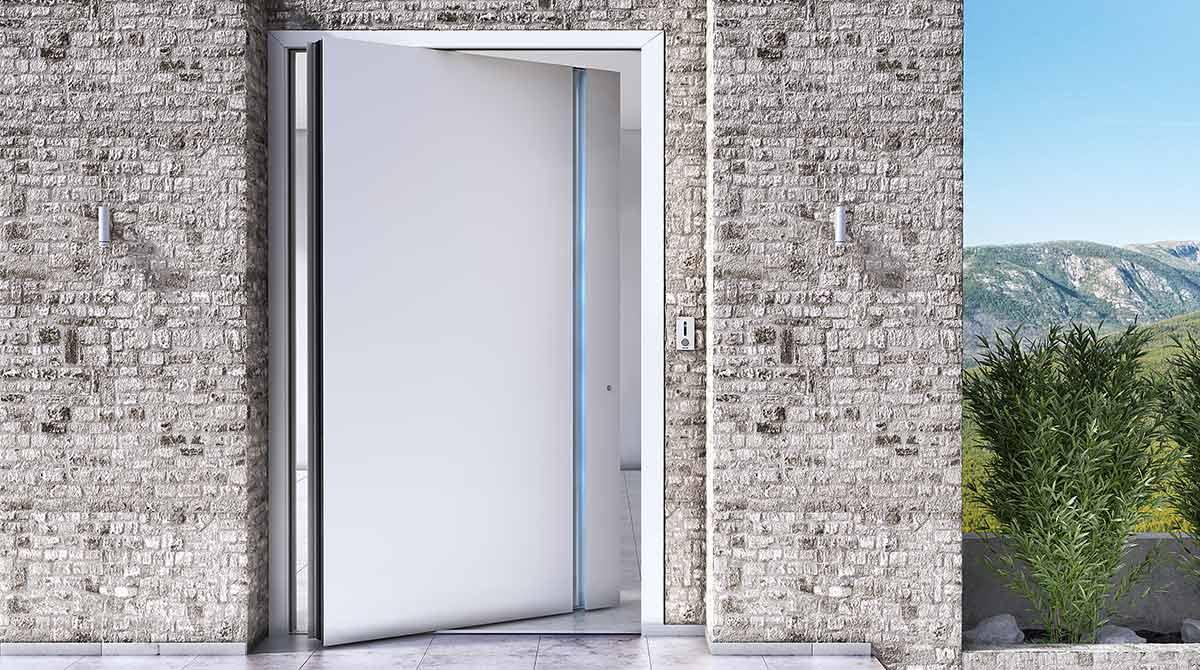 דלתות PIVOT בשילוב אלומיניום לבן