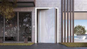 דלתות PIVOT זכוכית לבנה